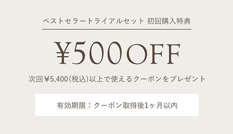 次回¥5,400(税込)以上で使える¥500クーポンをプレゼント